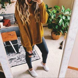 Sweaters - Golden hippie oversized mustard chunky sweater p3